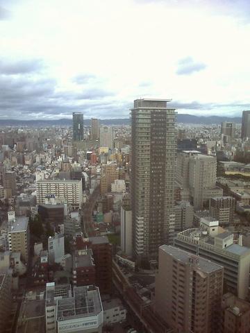 高層ビルからみた梅田から生駒方面